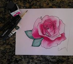Flor em aquarela ecoline