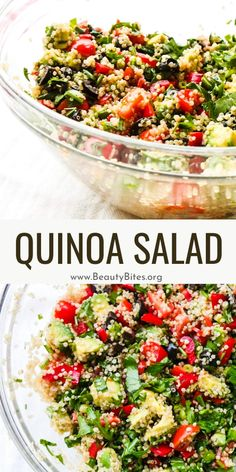 Healthy quinoa salad to eat every day! This Mediterranean quinoa salad is the perfect summer salad and absolutely delicious - filled with avocado, herbs, tomatoes, other fresh vegetables and quinoa it's filling, refreshing and a great quick lunch recipe. Clean Eating Recipes For Weight Loss, Clean Eating Meal Plan, Clean Eating Dinner, Healthy Eating, Healthy Food, Quick Lunch Recipes, Healthy Recipes On A Budget, Healthy Salad Recipes, Easy Family Meals