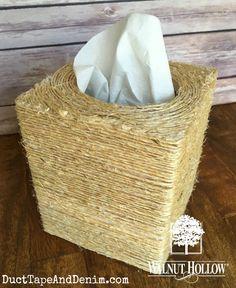 DIY Tissue Box with Sisal for your farmhouse decor   DuctTapeAndDenim.com