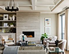 Bookcase fireplace surround living room transitional with inset ...