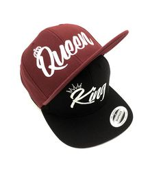 cff57dbfc09 Queen  amp  King embroidered high quality summer Snapback burgundy and black  caps hats. Teen. Black CapsPeaked CapSnapback ...