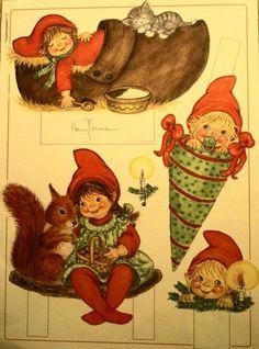 Christmas Paper Crafts, Christmas Gnome, Vintage Christmas Cards, Christmas Images, Vintage Cards, Christmas Themes, Holiday Crafts, Christmas Ornament, Danish Christmas