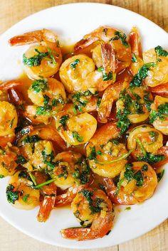 Spanish shrimp with garlic bread sauce - Yup Foodie