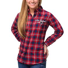 Klew New England Patriots Women's Navy Wordmark Flannel Button-Up Long Sleeve Shirt