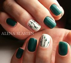 Green and Nature Leaves Branches Nail Design