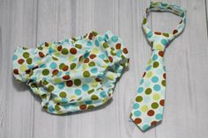 Neck Tie and Diaper cover Set with green, teal, Aqua brown Dots. boy Photo prop cake smash, wedding, church, Easter