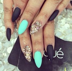 Mint Green, Black, and Glitter Matte Pointed Nails