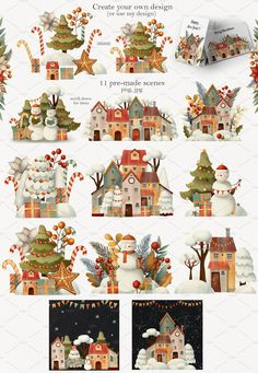 Christmas Magic Set by Daria's Magic World on Funny Christmas Cards, Christmas Clipart, Christmas Printables, Christmas Pictures, Xmas Cards, Christmas Store, Christmas Art, Watercolor Cards, Watercolor Illustration