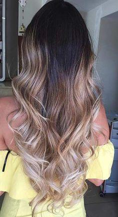 Beige Blonde Balayage Ombre on Dark Hair