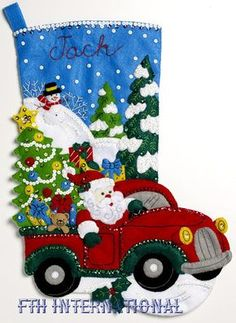 Bucilla The Christmas Drive Christmas Stocking - Felt Applique Kit. With a Christmas tree and a bounty of presents in tow, Santa is hitting the road in Bucilla' Felt Stocking Kit, Christmas Stocking Kits, Felt Christmas Stockings, Christmas Crafts, Christmas Decorations, Christmas Ornaments, Holiday Decor, Planner Stickers, Large Christmas Tree