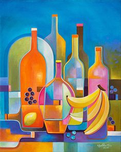 Cubist Abstract Oil Painting Original artwork Wine and Fruits by Marlina Vera Fine Art Gallery  sale Modern still life Contemporary Fauvism