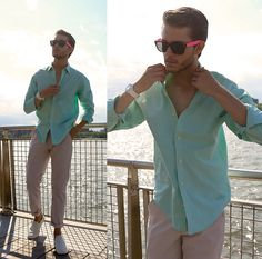 Similar Here  > Shirt, Different Colors Here  > Glasses, Off White Chinos, Coach Slip Ons - Spearmint Summer  - Adam Gallagher
