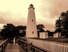 Ocracoke Island Lighthouse - Sepia by Phyllis Taylor #lighthouse #OcracokeIsland #sepia