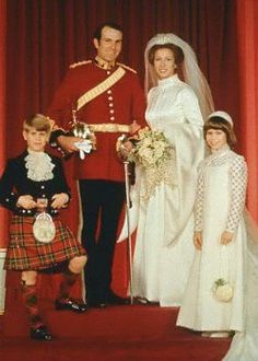 Amazing Royal Women: Captain Mark Phillips and Princess Anne with their attendants Prince Edward (Anne's youngest brother) and Lady Sarah Armstrong-Jones (Anne's first cousin), November 1973