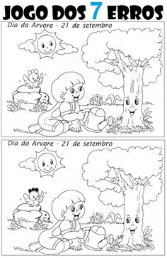 ATIVIDADES PARA EDUCADORES: Jogo dos SETE ERROS - DIA DA ÁRVORE Educational Games For Kids, Preschool Learning Activities, Preschool Worksheets, Kids Learning, Art Drawings For Kids, Drawing For Kids, Find The Difference Pictures, Hidden Pictures Printables, Picture Composition