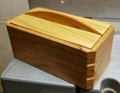 Small box made from cedar, poplar, and red oak scraps.