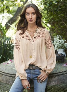 Dappled Moonlight Top - Rayon blouse with flowing voile and geometric lace.