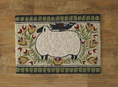Sheep with Bird Hooked Rug 24x36