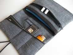"Cases & Mini Bags – Leather ""Black"" Tobacco Pouch with zipper pocket – a unique product by limabaum on DaWanda"