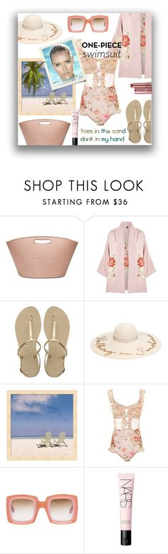 """One piece Swimsuit"" by closet-freak ❤ liked on Polyvore featuring Gucci, Topshop, Havaianas, Zimmermann, Marni, NARS Cosmetics, Fresh, onepieceswimsuit, BeachPlease and spring2018"