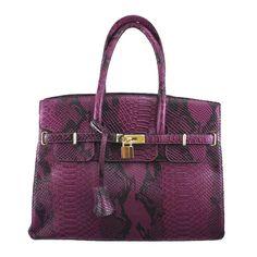 Birkin Look Alike Bag Snake Skin Paars   Tassen   Fashion Hair Accessories.nl