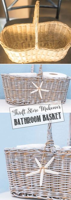 Home Accessories Shop Thrift Stores - DIY Painted Toilet Paper Basket. Thrift Store Furniture, Thrift Store Crafts, Thrift Stores, Upcycled Crafts, Diy Crafts, Handmade Crafts, Handmade Rugs, Repurposed, Diy Laden