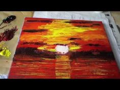 How to Paint a Sunset, Abstract Acrylic, Art, Sunset, Painting with Palette Knife, Acrylmalerei - YouTube