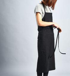 For expert full linen apron Deep Black / Premium by aroundLINEN