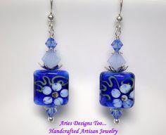 Garden of Blues  Floral Lampwork Earrings in by ariesdesignstoo, $25.00