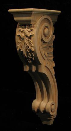 Wood Carved Oak Leaf Corbel