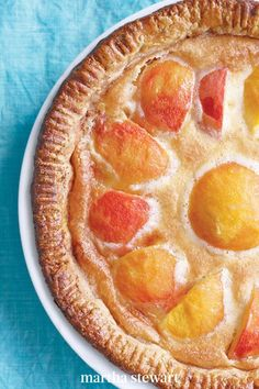 With its sunny arrangement of peach slices, this dessert is summer in a pie plate. Peaches pair very well with the creaminess of the custard, for a peaches and cream sort of vibe. #marthastewart #recipes #recipeideas #dessert #dessertrecipes Tart Recipes, Fruit Recipes, Dessert Recipes, Summer Recipes, No Bake Desserts, Just Desserts, Delicious Desserts, Yummy Food, Peach Custard Pies