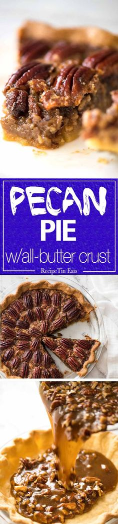 Learn how to make Pecan Pie! Flaky all-butter pie crust with a soft set filling, and a helpful quick video tutorial so you'll nail it every single time! No Bake Desserts, Just Desserts, Dessert Recipes, Recipe Tin, Crust Recipe, Sweet Pie, Sweet Tarts, Tart Recipes, Cooking Recipes