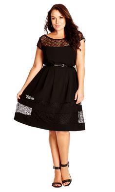 City Chic Delicate Lace Insert Dress - Women's Plus Size Fashion City Chic - City Chic Your Leading Plus Size Fashion Destination #citychic #citychiconline #newarrivals #plussize #plusfashion
