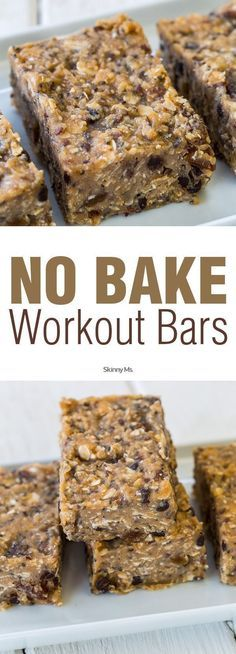 No-Bake Workout Bars Recipe made with whole food ingredients! #nobake #workoutbars #proteinbars