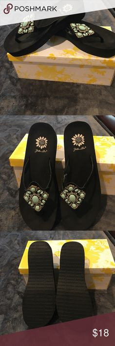 Yellow Box Yokohama Sandals Yellow Box Yokohama Sandals; Black with clear and turquoise colored stones; WORN ONLY ONCE AND ARE IN LIKE NEW CONDITION Yellow Box Shoes Sandals