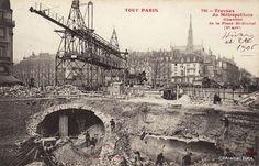 Travaux du Métropolitain Chantier de la Place St-Michel