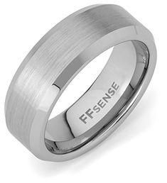 Tungsten Carbide Wedding Band Ring For Men - 8mm, Satin Finish  Beveled Edge, Comfort Fit >>> Details can be found by clicking on the image. (This is an affiliate link) #MenWeddingRings