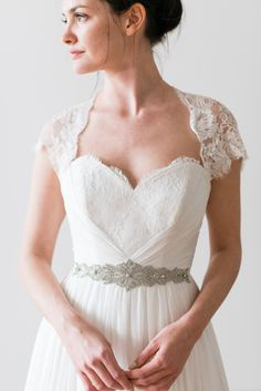 Naomi Neoh Isobel -Full silk chiffon wedding dress with French rose lace details and cap sleeves.
