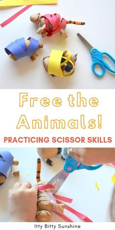 Have your preschooler practice scissor skills with this easy cutting activity! #finemotorskills #scissorskills #toddleractivities #preschool