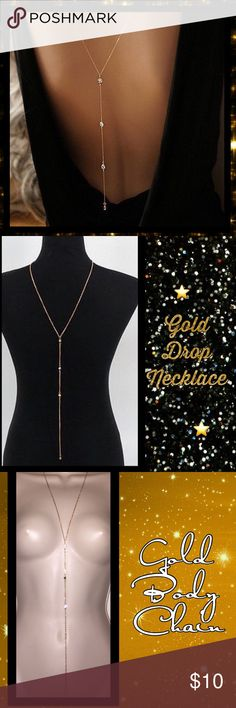 Gold Rhinestone Front or Back Drop Chain Necklace Adjustable n versatile Sexy n Fun body necklace Lariat style back or front drop necklace. 💯Ships next day from my home in Ohio 💯Brand new  💯HIGH QUALITY💯  ‼️Please read‼️ 🎉Sale🎉 All prices ✂️ 💯What u see is what u get ⚡Next day ship⚡ ✔Offers welcome on items $13+ 🚫No Trades 💖Just got💍engaged 💍 5-21 - 3yrs Long distance we r working Very hard to be together. Please help us on our journey, follow n share, thank u💛 Jewelry Necklaces