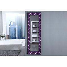 Miroir design capitonné en velours avec strass coloris mauve