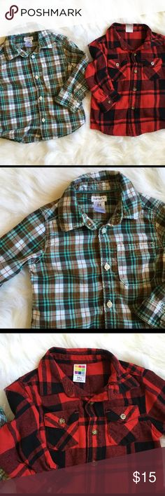 Blue Plaid Shirt Really cute shirt in excellent condition! Blue/Brown shirt is Carter's. Only blue shirt is available Carter's Shirts & Tops Button Down Shirts