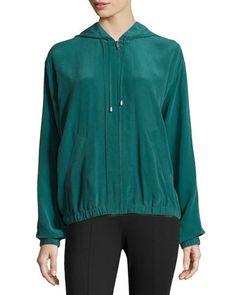 Long-Sleeve Silk Hoodie Jacket, Pine by Equipment at Neiman Marcus Last Call.