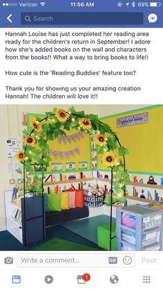 Book Corner Classroom, Garden Theme Classroom, Diy Classroom Decorations, Classroom Layout, Classroom Organisation, Classroom Design, Classroom Displays, Preschool Classroom, Classroom Themes