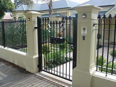 Automatic Gates in Adelaide from Hindmarsh Fencing. We offer electric gates to keep your yard protected in Adelaide. Contact us if you're thinking about getting a fence. House Fence Design, Fence Gate Design, Door Design, Wrought Iron Security Doors, Wrought Iron Fences, Metal Fence, Electric Gates, Boundary Walls, Grades