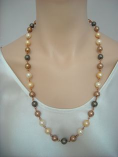 Mocha mix shell pearls on copper links
