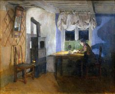 .:. By Lamplight (1890). Harriet Backer (Norwegian, 1845-1932). Oil on canvas. The Rasmus Meyer Collection,The Bergen Art Museum, Bergen.Backer is best known for her detailed interior scenes, communicated with rich colors and moody lighting.Her work is often compared with that of her friend Eilif Peterssen. Backer worked in the tradition of realism in painting, where she is regarded as both a naturalist and an early Impressionist.