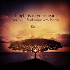 If light is in your heart, you will find your way home - Rumi