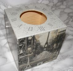 Tissue Box Cover  - Wooden Square Home Paris Decor. £17.00, via Etsy.