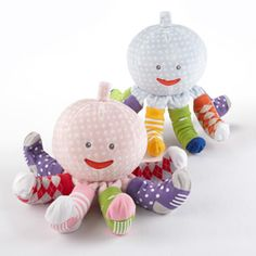 Mr. and Mrs. Sock T Pus - Plush Octopus with 4 pairs of Socks - available for a Baby Girl and Baby Boy